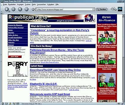 Transparenz in der Politik: Dass die Satire-Website die Enron-Parteispenden aufdeckt, schmeckt den Republikanern gar nicht