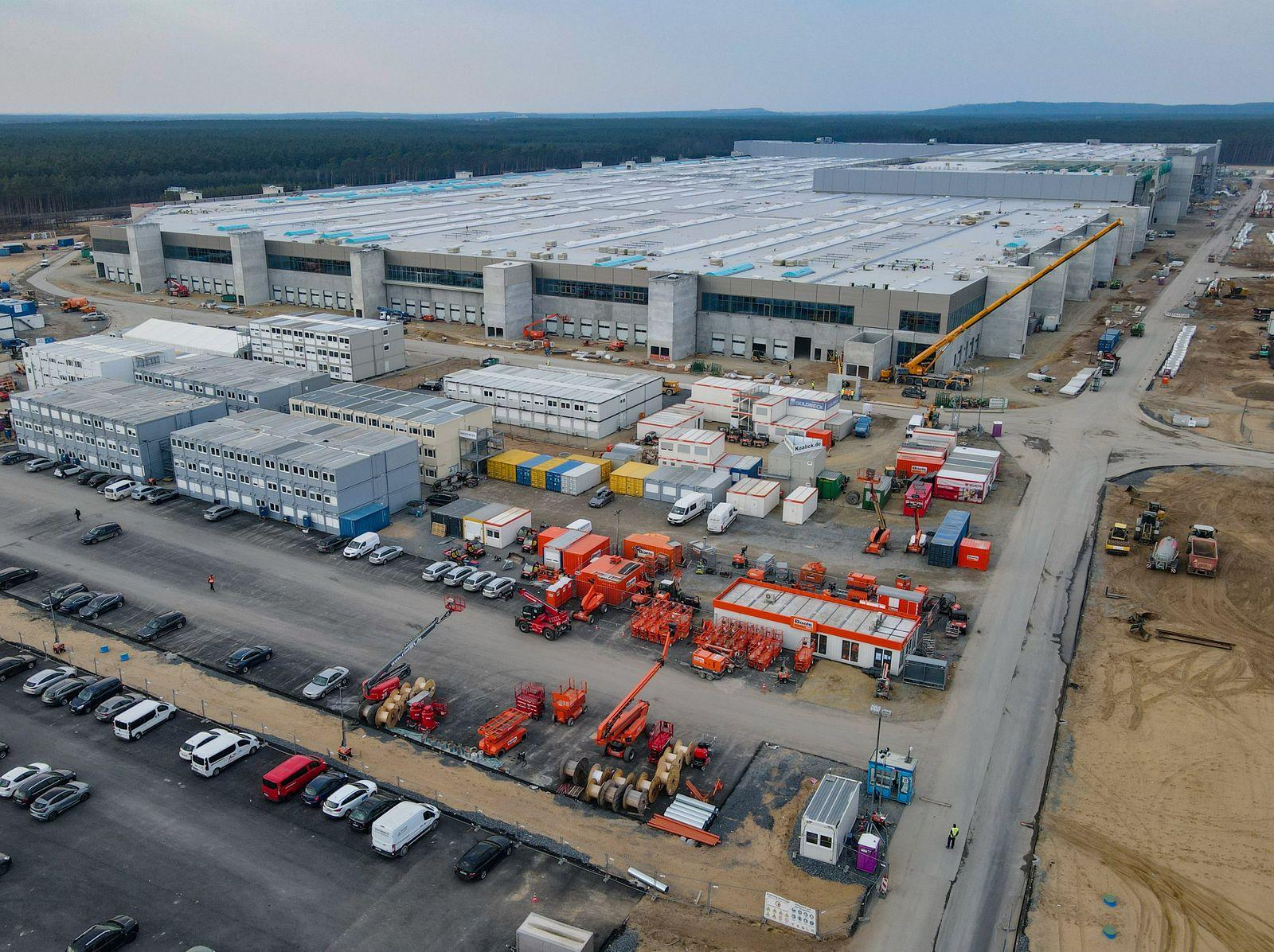 Baugelände der Tesla Gigafactory in Grünheide