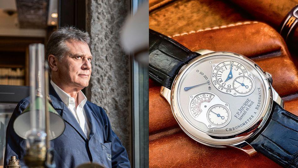 Grimmig und gut: François-Paul Journe gilt als einer der besten Uhrmacher seiner Generation, wegen Uhren wie dieser mit zwei Werken, die sich gegenseitig stabilisieren (Resonanz). Eine Journe erzielte jüngst 1,6 Millionen Euro.