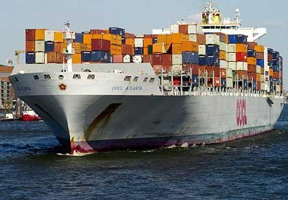 Gut beladen: Nicht alle Containerschiffe haben so viel zu tun wie dieses hier