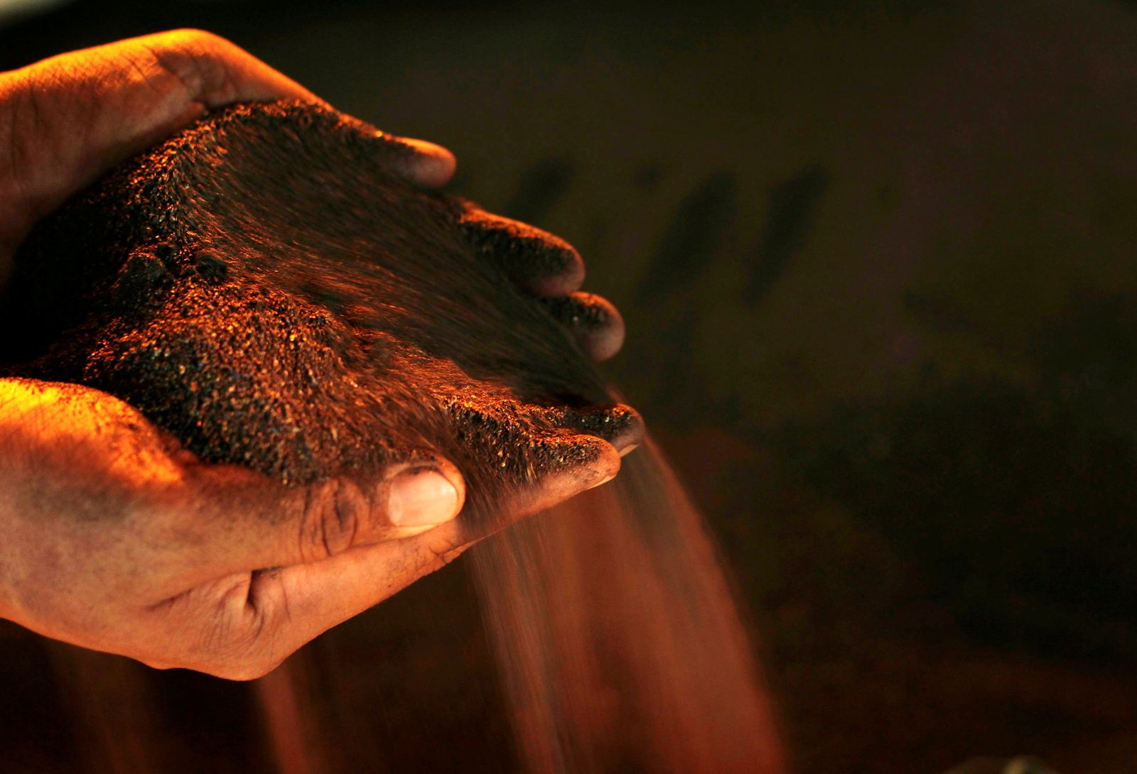 FILE PHOTO: A worker poses with a handful of nickel ore at the nickel mining factory of PT Vale Tbk, near Sorowako