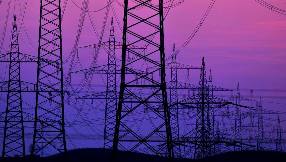 Hochspannungsmasten in Süddeutschland: Um Strom aus Windenergie in den Süden zu transportieren, müssten mehr als 3000 Kilometer neuer Leitungen gebaut werden