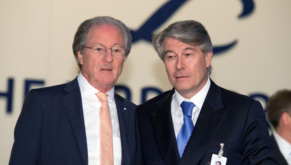 Linde-Chef Wolfgang Büchele (r.) mit Vorgänger Wolfgang Reitzle: Mittelfristige Geschäftsziele kassiert