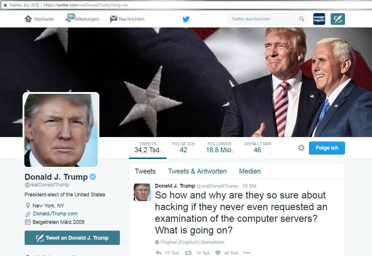 SCREENSHOT Twitter / Donald J. Trump