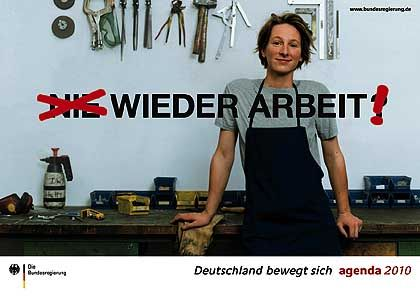Plakat zur Agenda 2010: Kosten üppig, Informationsgehalt dürftig