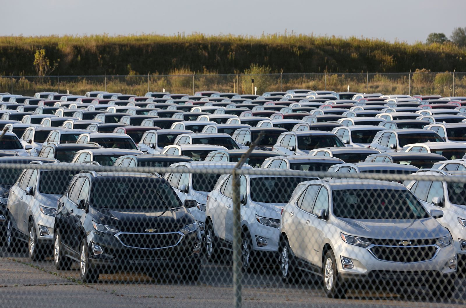 FILE PHOTO: Chevrolet Equinox SUVs are parked awaiting shipment near the General Motors Co (GM) CAMI assembly plant in Ontario