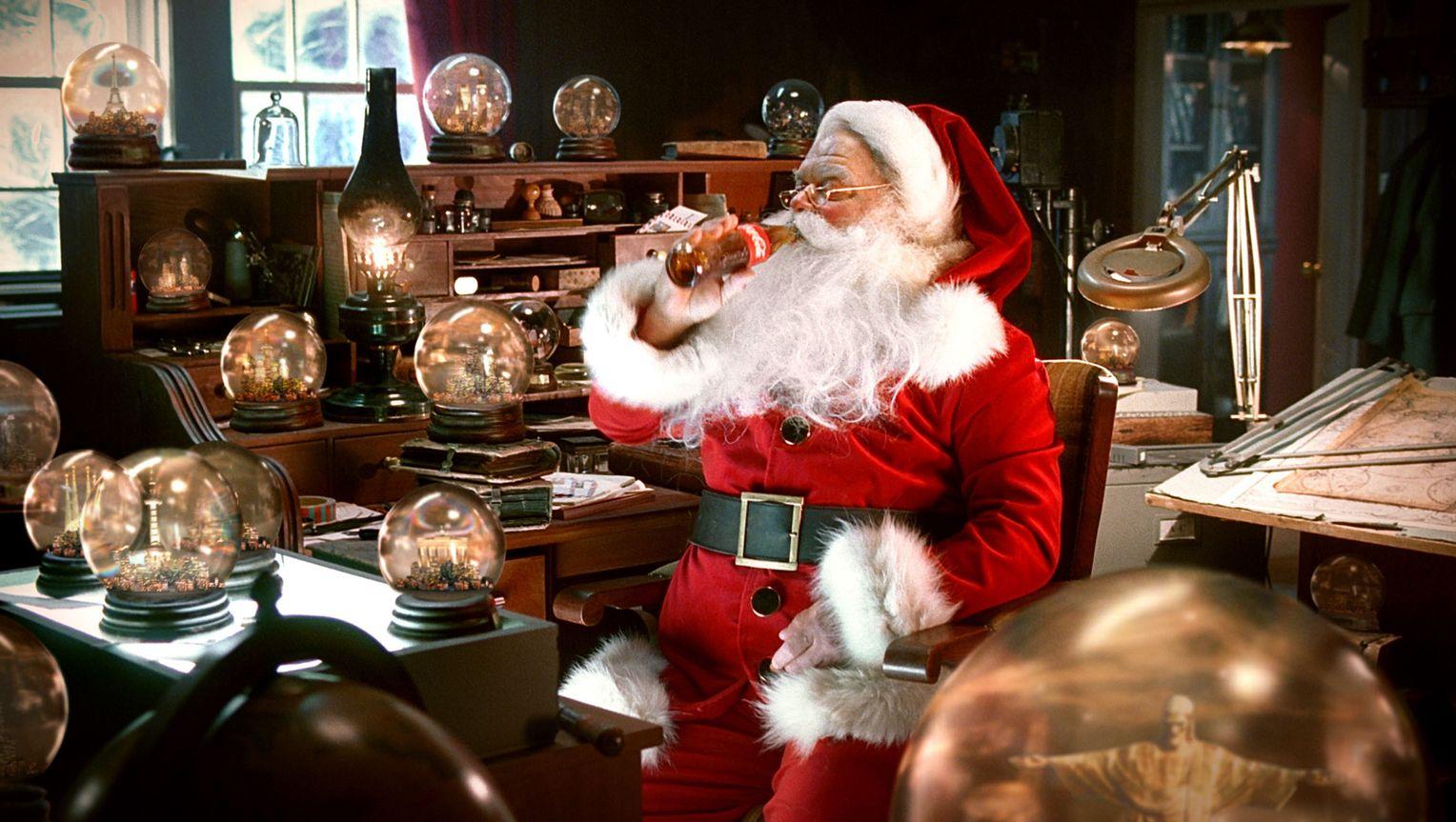 Weihnachtsmann Vor Coca Cola