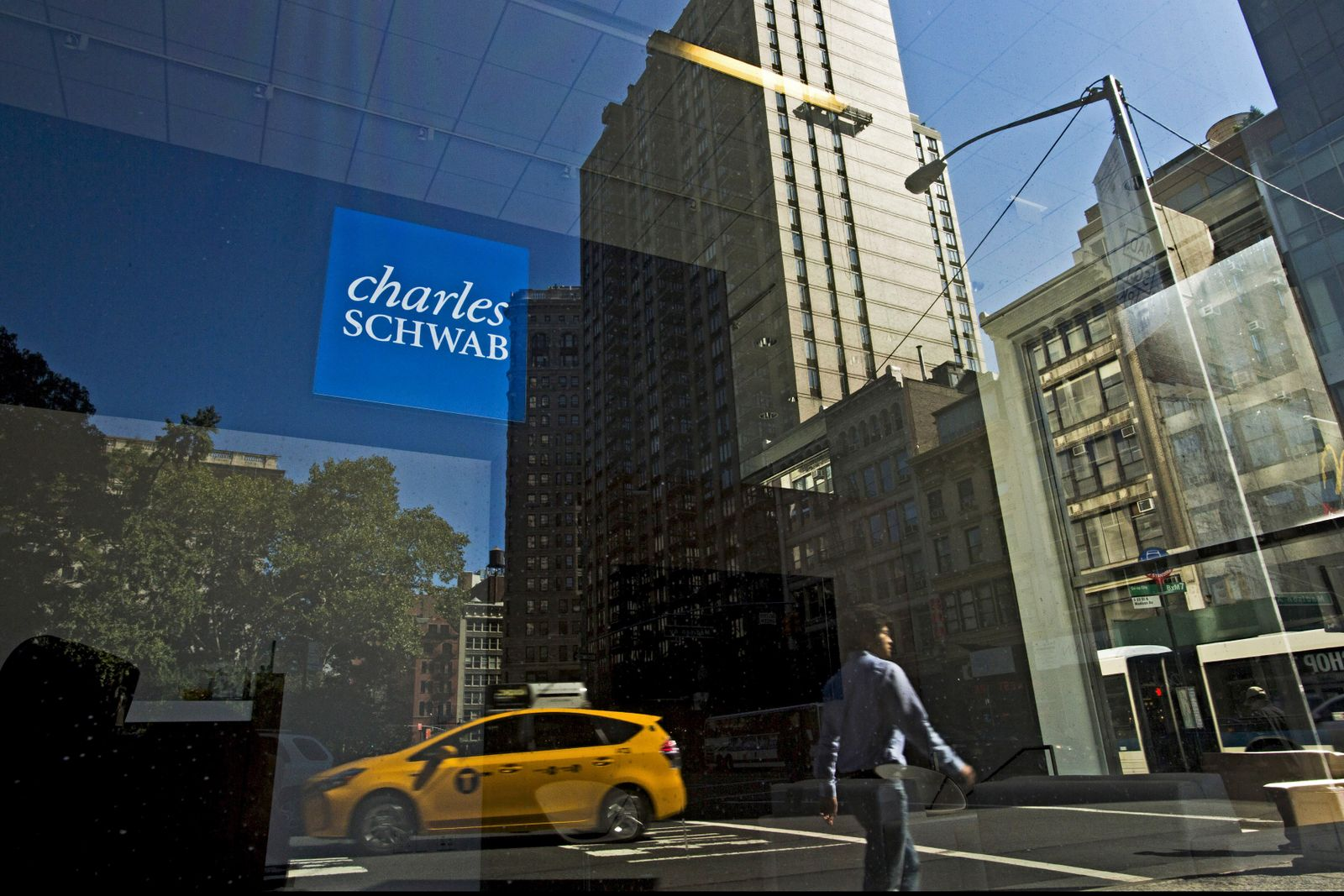 Charles Schwab sign is pictured in the Manhattan borough of New York