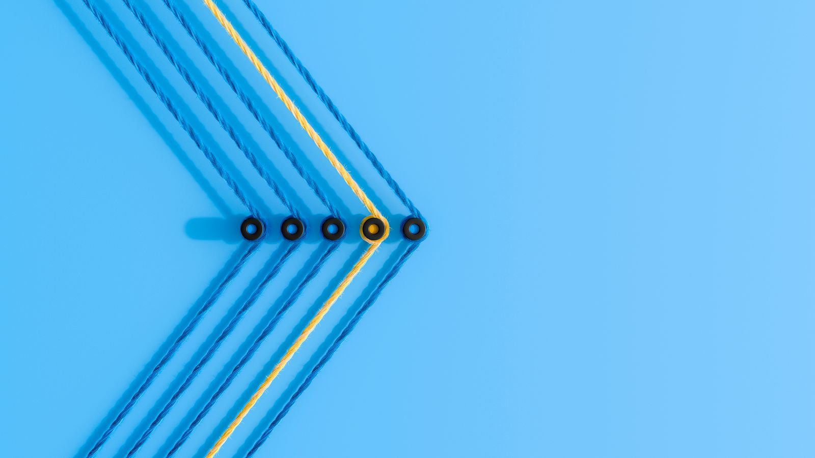 3D rendering, Arrow shape made from colorful threads, showing the direction