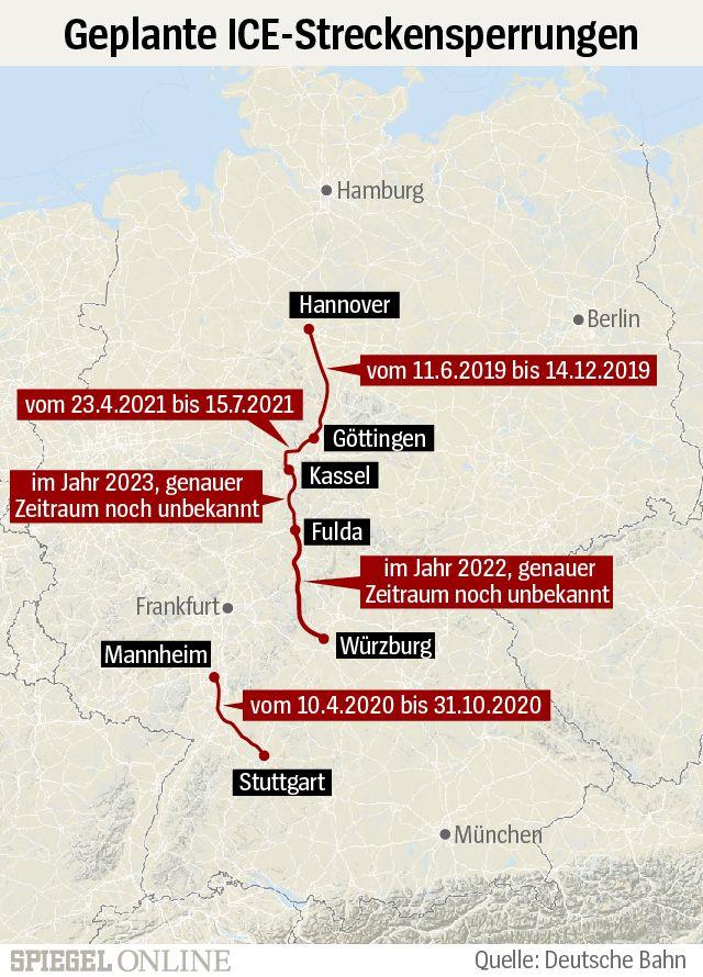Grafik - Geplante ICE-Streckensperrungen - NUR für Pano-Asset (IM TEXTBODY bleibt Motiv Light: 1345472)