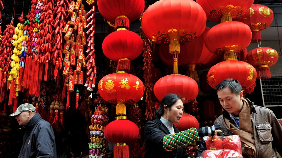 Chinese Lunar New Year decorations in Shanghai