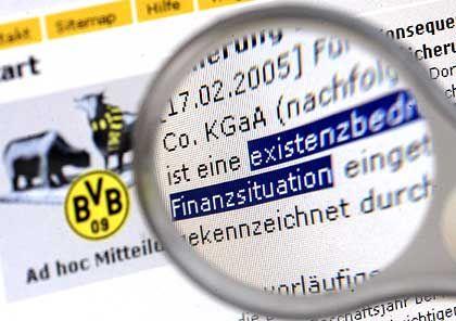 """Mitteilung auf der Internetseite des BVB: Der Fußballclub steckt in einer """"existenzbedrohenden"""" Finanzlage"""