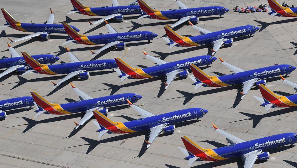 Geparkte Maschinen vom Typ 737 Max auf dem Flughafen Southern California Airport in Victorville