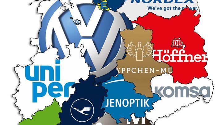 Ballung im Westen, Leere im Osten: Hier ist das größte Unternehmen aus Ihrem Bundesland