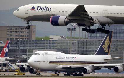 Pleite aber stolz: Die US-Fluggesellschaft Delta, hier ein Jet im Anflug auf Frankfurt
