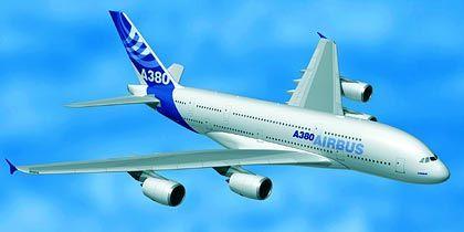 Airbus im neuen Kleid: Das neue Unternehmenslogo auf einer A380 Computersimulation