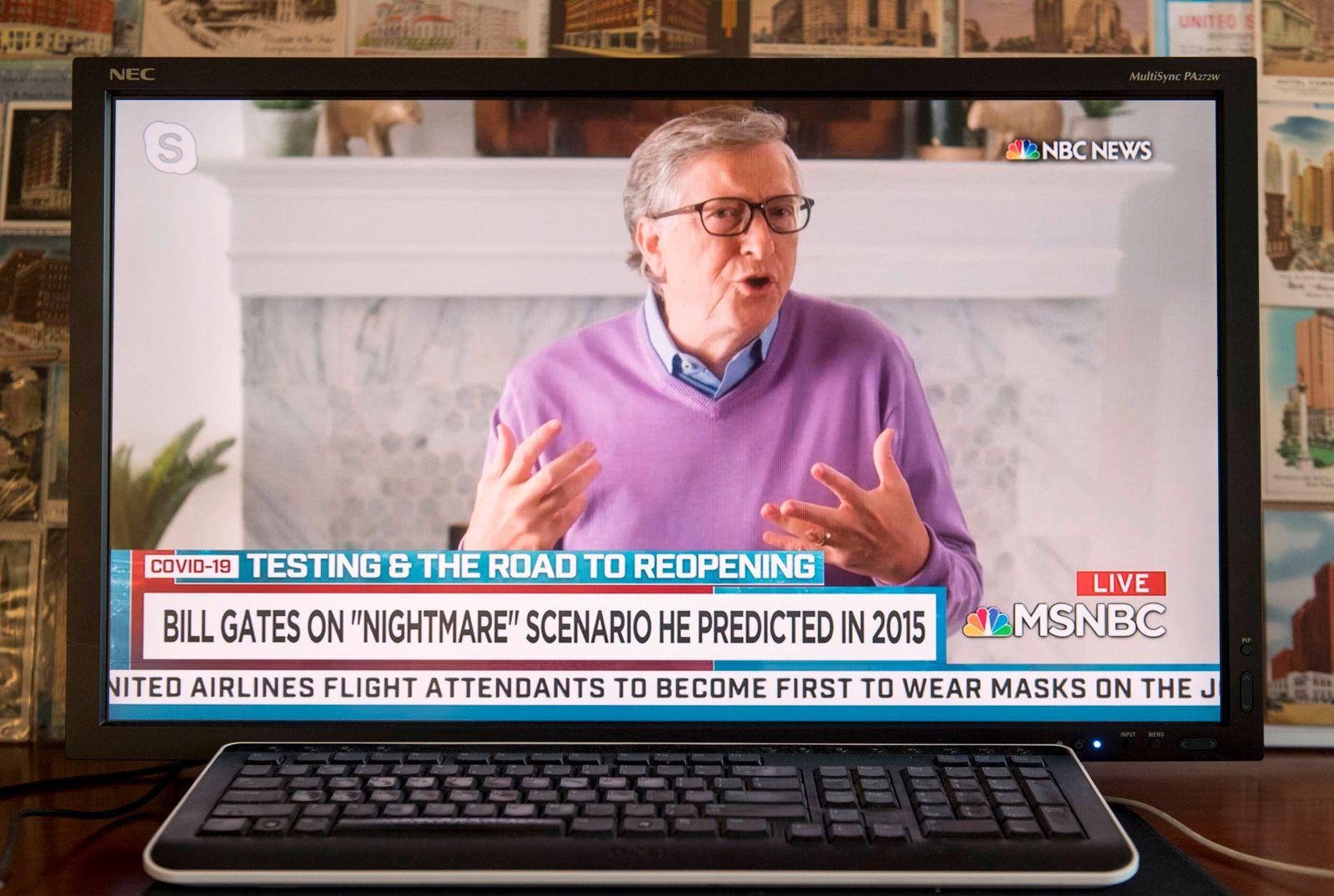 Coronavirus in den USA, Bill Gates im TV Interview April 23, 2020 - New York, New York - U.S. - A screen grab of a NBC s