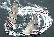 Keine Veranstaltung für Sonntagssegler: Das Prada-Boot im Kampf gegen Oracle/BMW