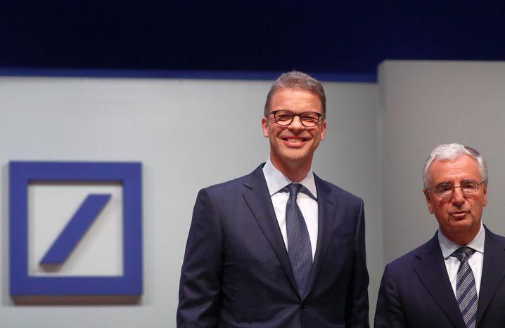 Konzernchef Christian Sewing und Aufsichtsratschef Paul Achleitner vor Beginn der Hauptversammlung