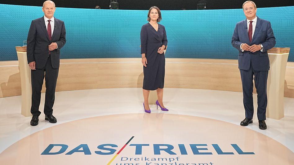 Scholz, Baerbock, Laschet - beim zweiten TV-Triell