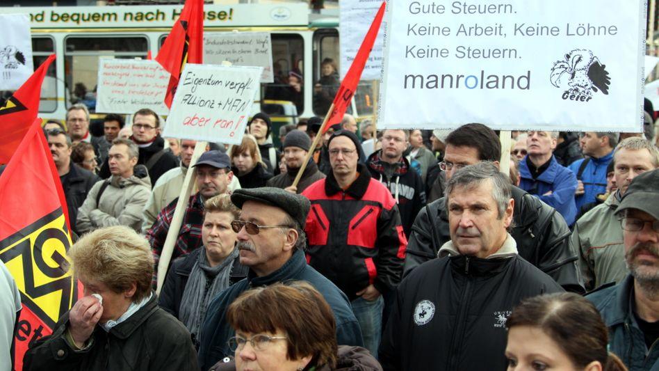 Demonstration bei Manroland: Größe Unternehmenspleite in Deutschland im Jahr 2011