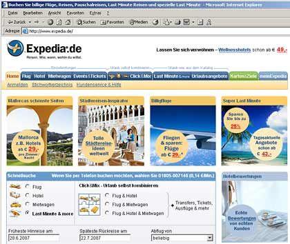 Konkurrenz aus dem Internet: Geschäfte, wie Expedia sie betreibt, will Fontenla forcieren