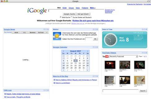 Persönliche Startseite: Auf iGoogle kann man seine diversen Internetaktivitäten übersichtlich bündeln
