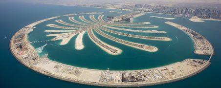 Luxus pur: Die künstliche Palmeninsel vor Dubai galt als Wahrzeichen für die Finanzkraft des Emirats. Jetzt haben viele Firmen Probleme und der Kleinstaat will für sie bürgen