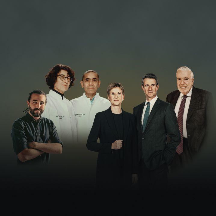 6 aus 500: About-You-Chef Tarek Müller, die Biontech-Macher Özlem Türeci und Uğur Şahin, die BMW-Erben Susanne Klatten und Stefan Quandt sowie Logistikunternehmer Klaus-Michael Kühne (v.l.n.r.)