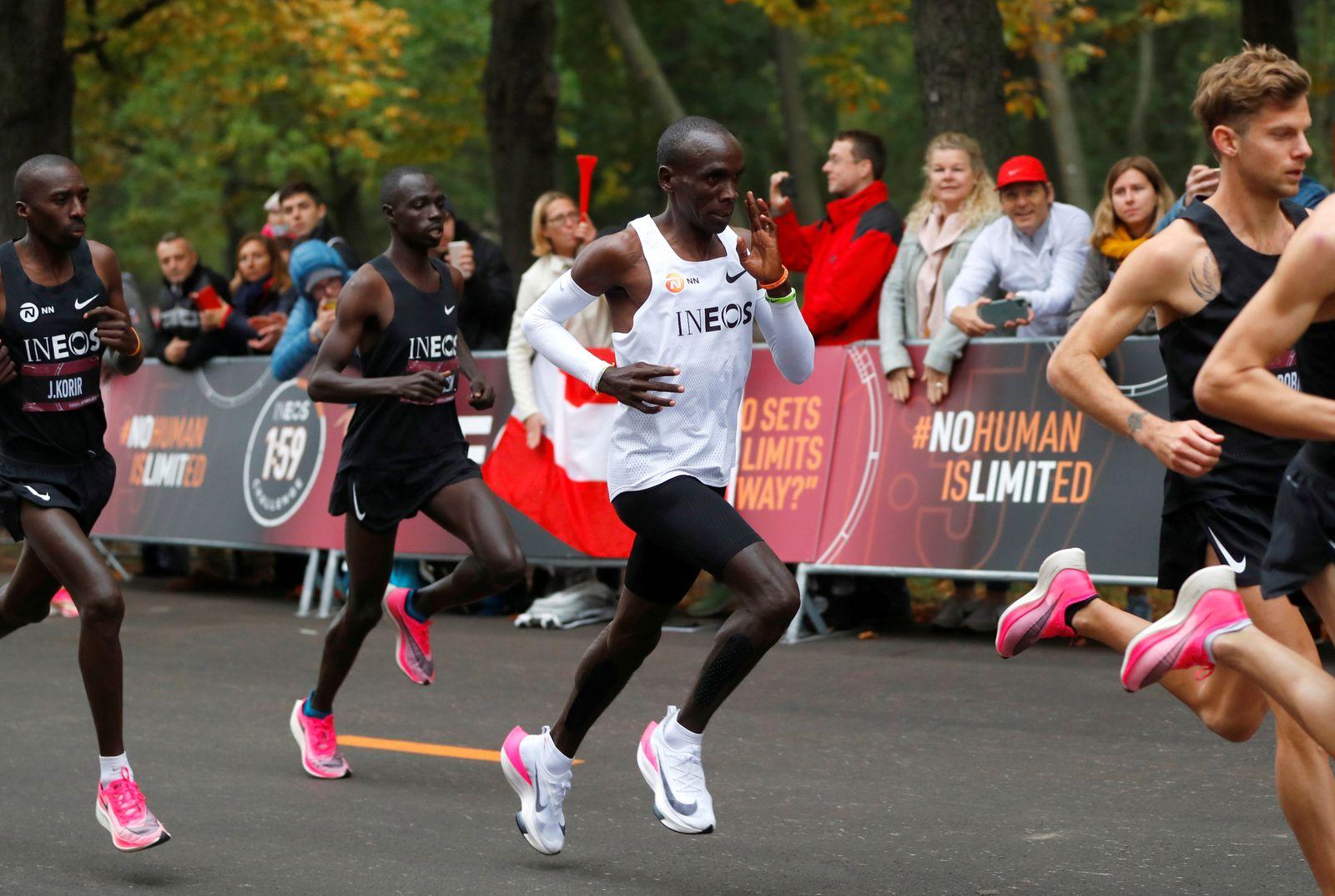 FILE PHOTO: Eliud Kipchoge, the marathon world record holder from Kenya, attempts to run a marathon in under two hours in Vienna