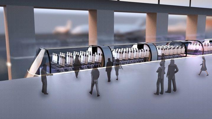 Boarding mal anders: Passagiere besteigen am Flughafen eine Gondel, die dann ins Flugzeug gleitet