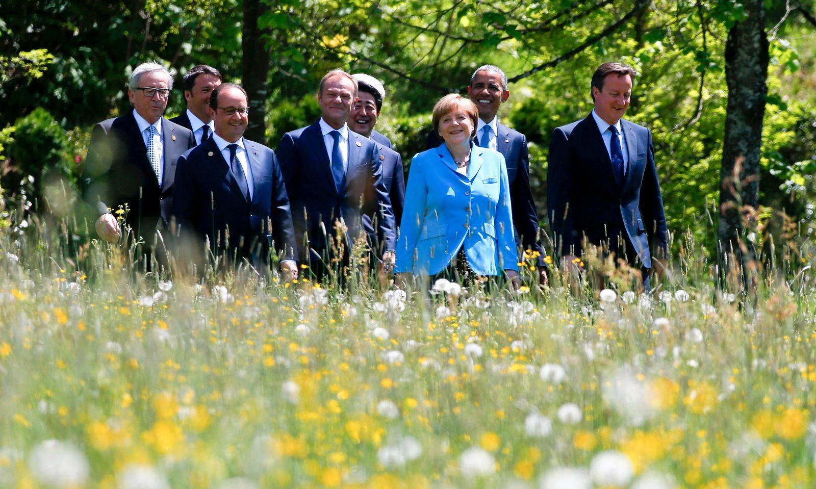 G-7 Elmau Merkel und die Blumen