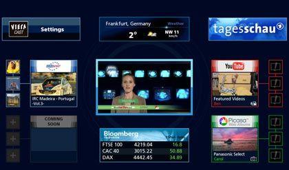 Am Fernseher surfen: Bei Panasonics Dienst Viera Cast gruppieren sich Internetanwendungen um ein geschrumpftes Fernsehbild herum (siehe Großbild)