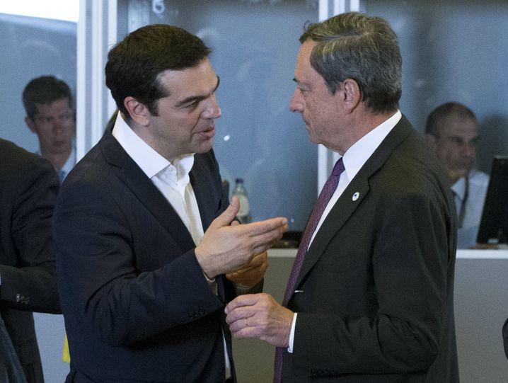 Premier Tsipras, EZB-Chef Draghi: Griechenland-Krise zunehmend schwieriger zu lösen