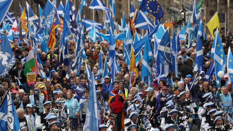Schotten demonstrierten am Samstag für die Unabhängigkeit von Großbritannien