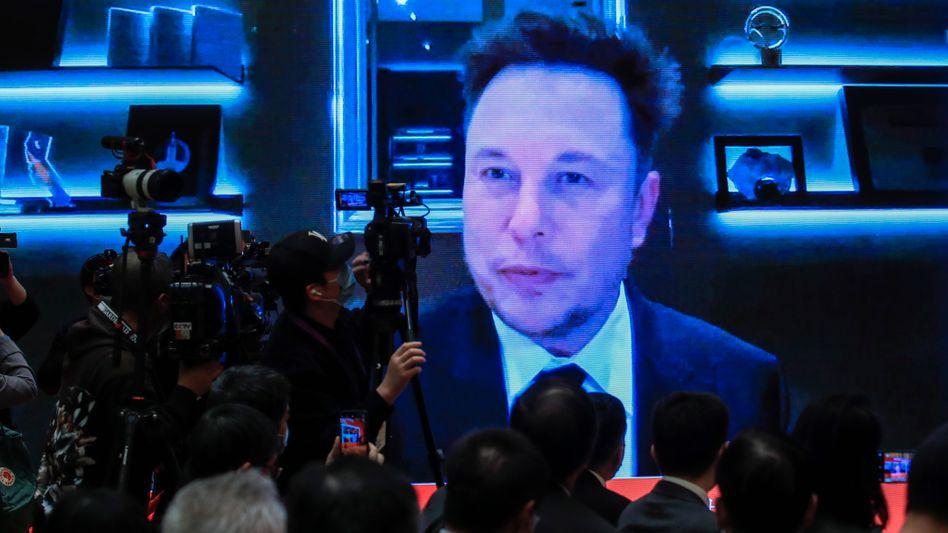Diplomat: Zugeschalteter Tesla-Chef Elon Musk auf dem Chinesischen Entwicklungsforum am Samstag in Peking