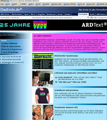 Geburtstagsfeier im Internet: ARD-Videotextseite