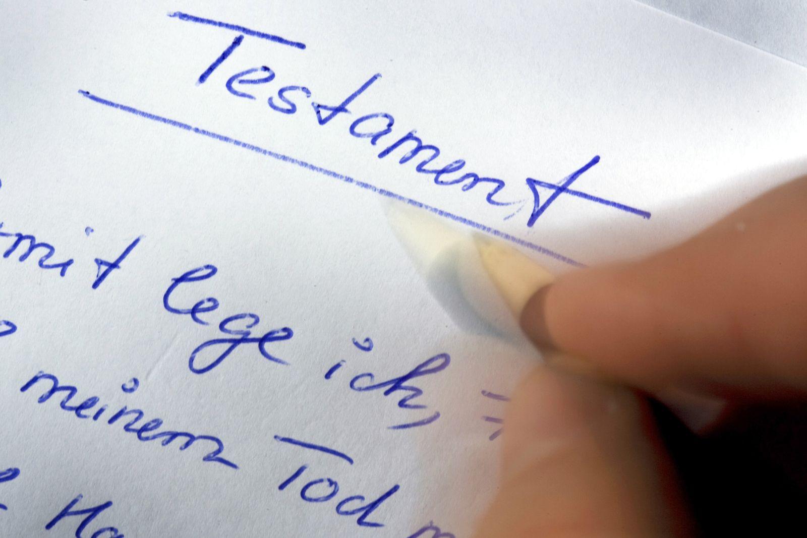 Symbolbild Erbschaftssteuer - Testament