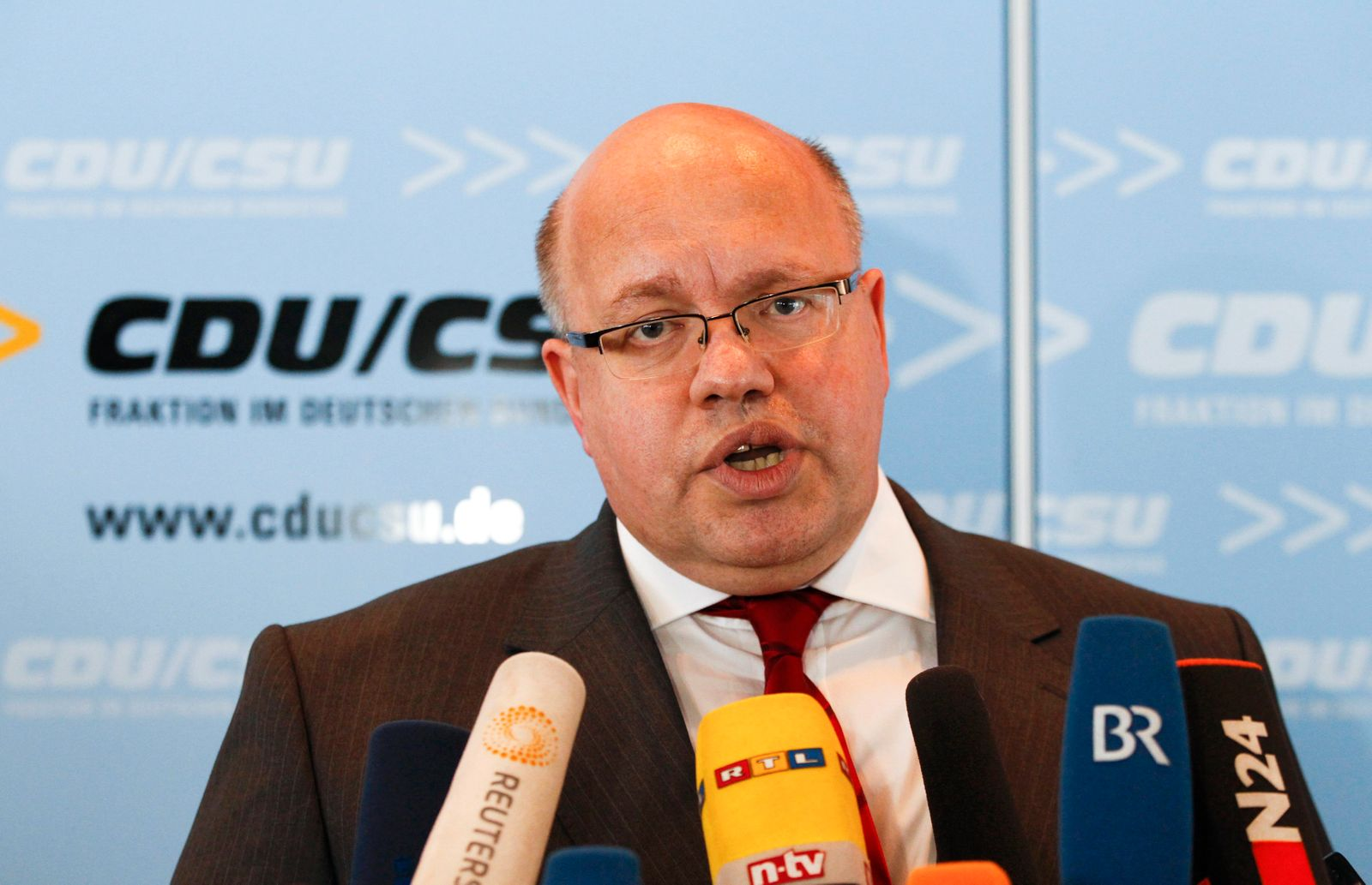 Altmaier, CDU party faction conservative leader in the Bundestag (lower house of parliament), addresses a news conference at party headquarters in Berlin