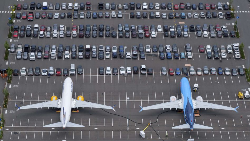 Wohin damit? 737-Max-Flugzeuge stehen auf einem Mitarbeiterparkplatz von Boeing in Seattle (Archivaufnahme)