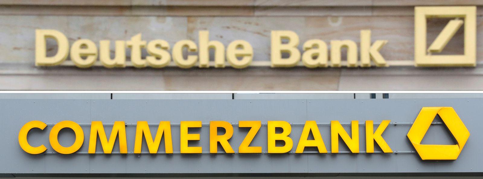 EINMALIGE VERWENDUNG KOMBO Deutsche Bank und Commerzbank Logo NUR HP