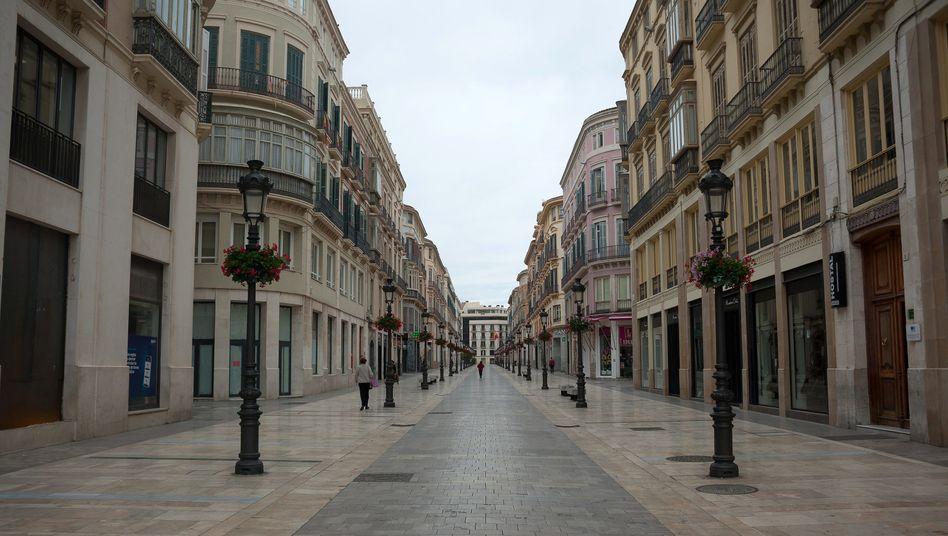 Leere Innenstadt in Malaga, Spanien: In diesem Jahr wird die Wirtschaft in der Euro-Zone voraussichtlich um 7,7 Prozent einbrechen