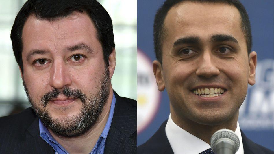 Lega-Chef Matteo Salvini (links) , 5-Sterne-Führer Luigi Di Maio: Grundeinkommen, höhere Sozialausgaben, niedrigere Steuern - und eine Rücknahme der Rentenreform