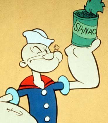 Kraftprotz: Popexe zeiht aus Spinat seine Kraft, dabei ist längst erwiesen, dass die grünen Blätter nicht so viel Eisen enthalten, wie früher mal gedacht