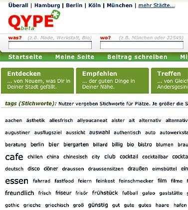 Virtuelles Branchenbuch: Qype will die individuelle Verwertbarkeit seiner Suchergebnisse durch Nutzerempfehlungen steigern