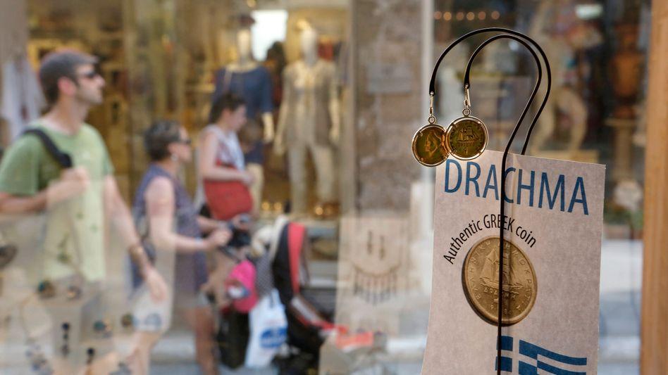 Drachmen sind wieder präsent: Schaufenster eines Schmuckhändlers in Athen