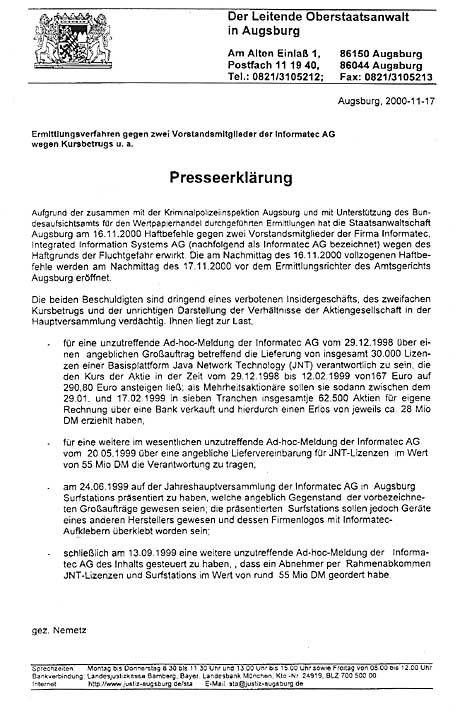Die Mitteilung der Staatsanwaltschaft Augsburg
