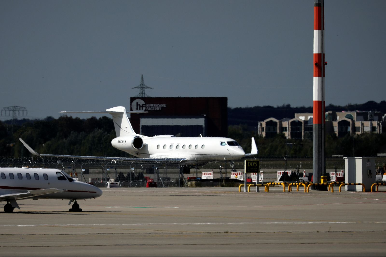 "Tesla Inc Chief Executive Officer Elon Musk's private jet is seen at the newly built Berlin Brandenburg Airport ""Willy Brandt"" (BER) ahead of its opening, in Schoenefeld"