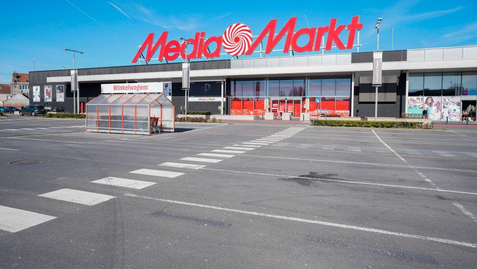 Europaweit geschlossene Läden: Mediamarkt-Filiale in Brüssel