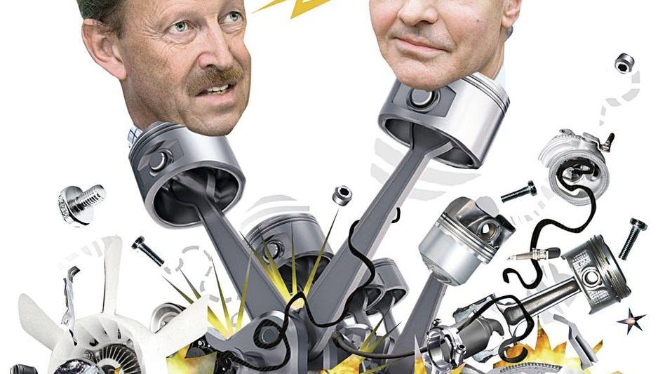Fehlende Passung: Zwischen Mahle-Chef Heinz Junker (l.) und Behr-Aufsichtsratschef Horst Geidel fliegen die Späne